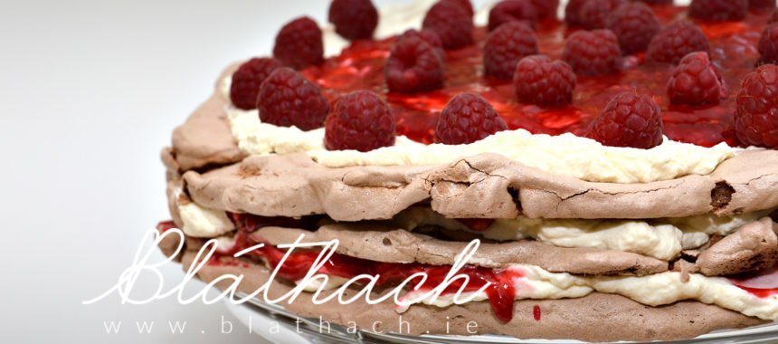 Chocolate Meringue Torte With Raspberries
